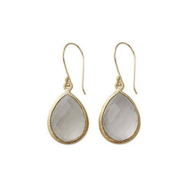 NOVICA 12.5 Cts Prasiolite and Vermeil Earrings (2 840 UAH) ❤ liked on Polyvore featuring jewelry, earrings, dangle, gold plated, golden earring, vermeil jewelry, dangling jewelry, golden jewellery and green quartz earrings