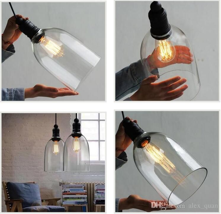 Retro Industrial Diy Ceiling Lamp Light Glass Pendant Lighting Home Decor  Fixtures Free Edison Bulb E27