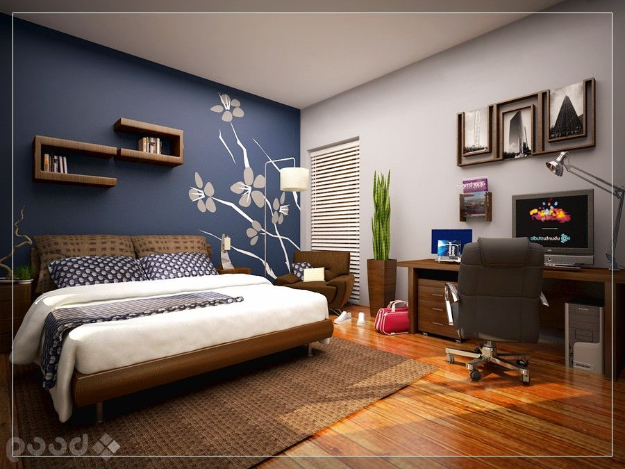 bedroom wall paint ideas, cool bedroom with skylight blue accent