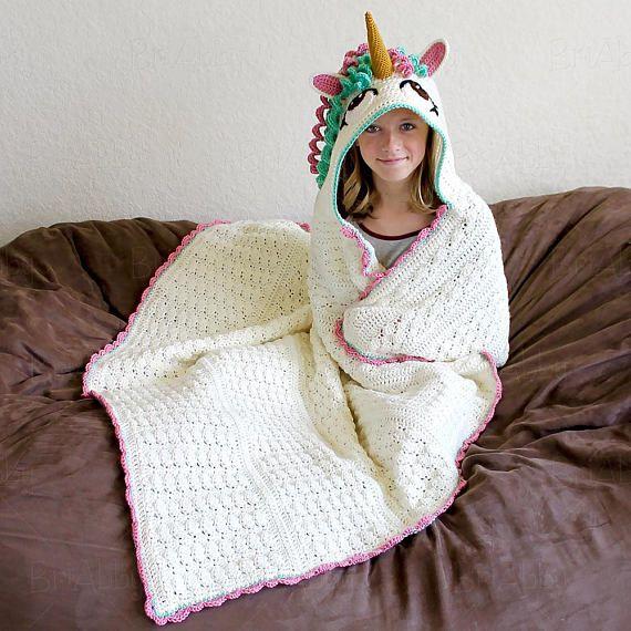 CROCHET PATTERN Hooded Unicorn Blanket Pattern PDF File | Unicorn ...