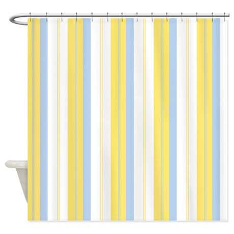 Yellow & Blue Stripe Shower Curtain