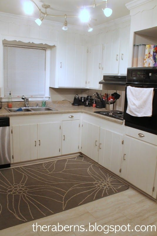 Vintage Kitchen 1960s Ranch Old White Cabinets Red New Beige Gray Flooring Updated Liances