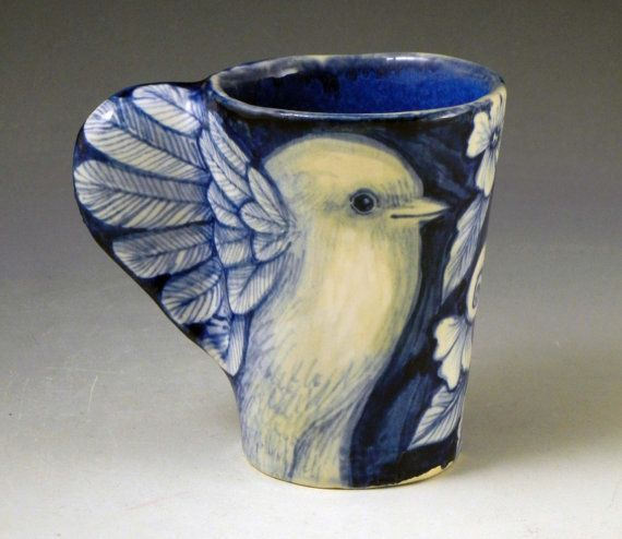 Blue and white porcelain bird cup with wings and flowers | White ...
