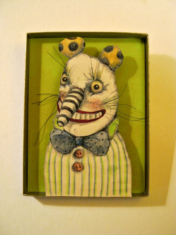 Happy clown guy , Shadow box art, Diorama , sandy mastroni,Small art ...