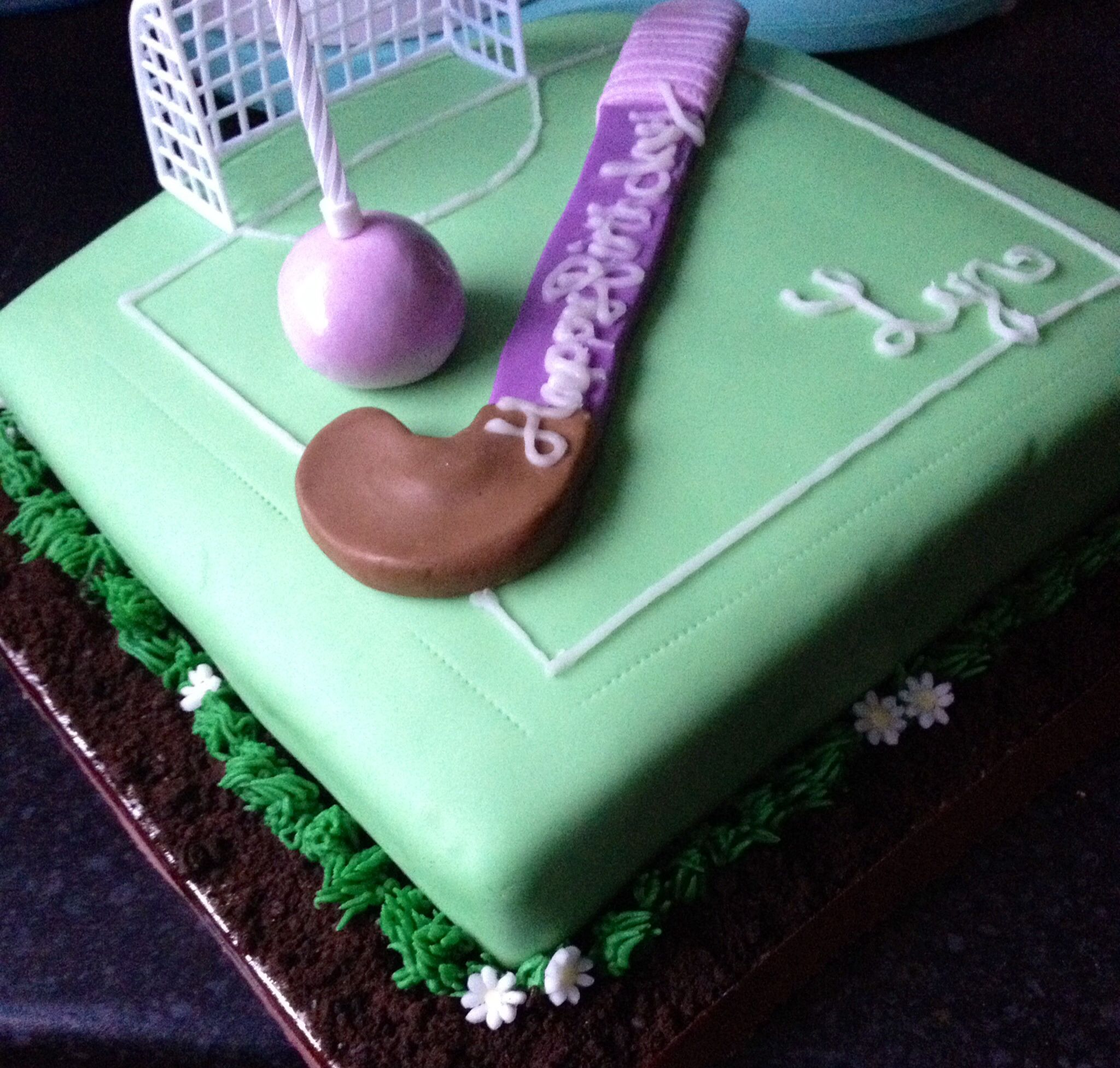 Hockey pitchfield English hockey Birthday cake fondant