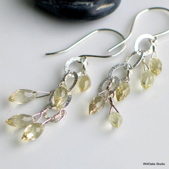 Lemon Quartz Dangle Earrings Sparkle Earrings by WillOaksStudio, $42.00