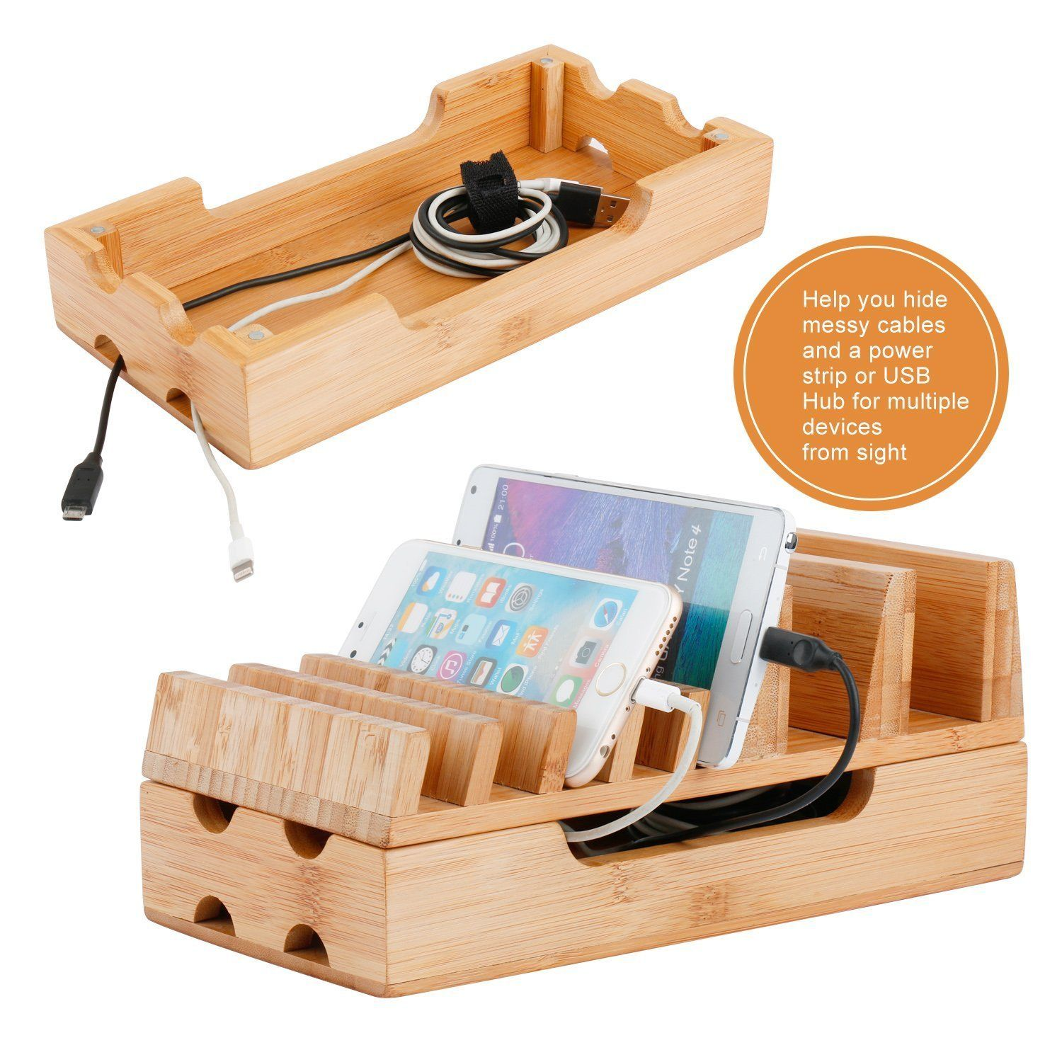 Charging Station, Levin Eco-Friendly Bamboo Charging Station Rack ...