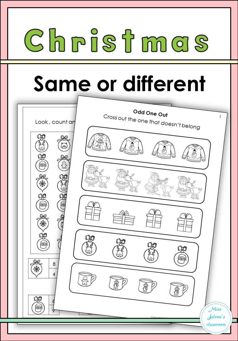 Christmas Same Or Different Set Includes The Following 1 Odd One Out 4 Worksheets 2 Three In A Row Preschool Learning Christmas Classroom English Study [ 1090 x 761 Pixel ]