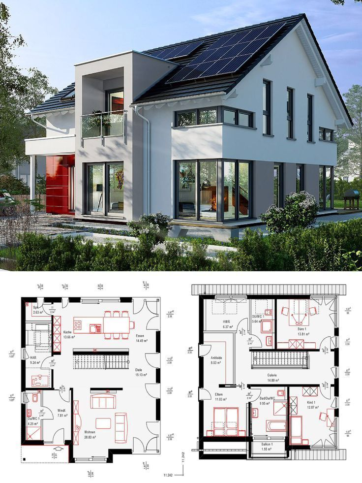Modern singlefamily house new building with gable roof architecture transept  chimney  building house floor plan prefabricated house Fellbach by OKAL Haus   Architecture...