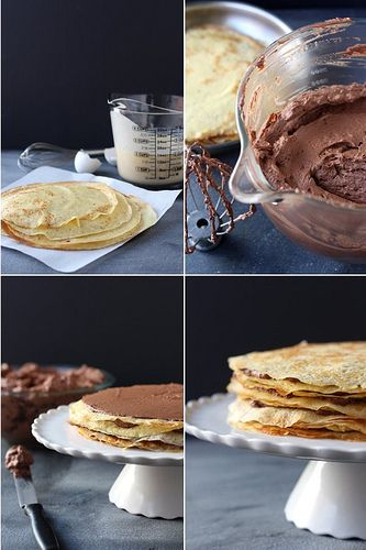 Crepe Cake with Whipped Chocolate Ganache by Completely Delicious, via Flickr