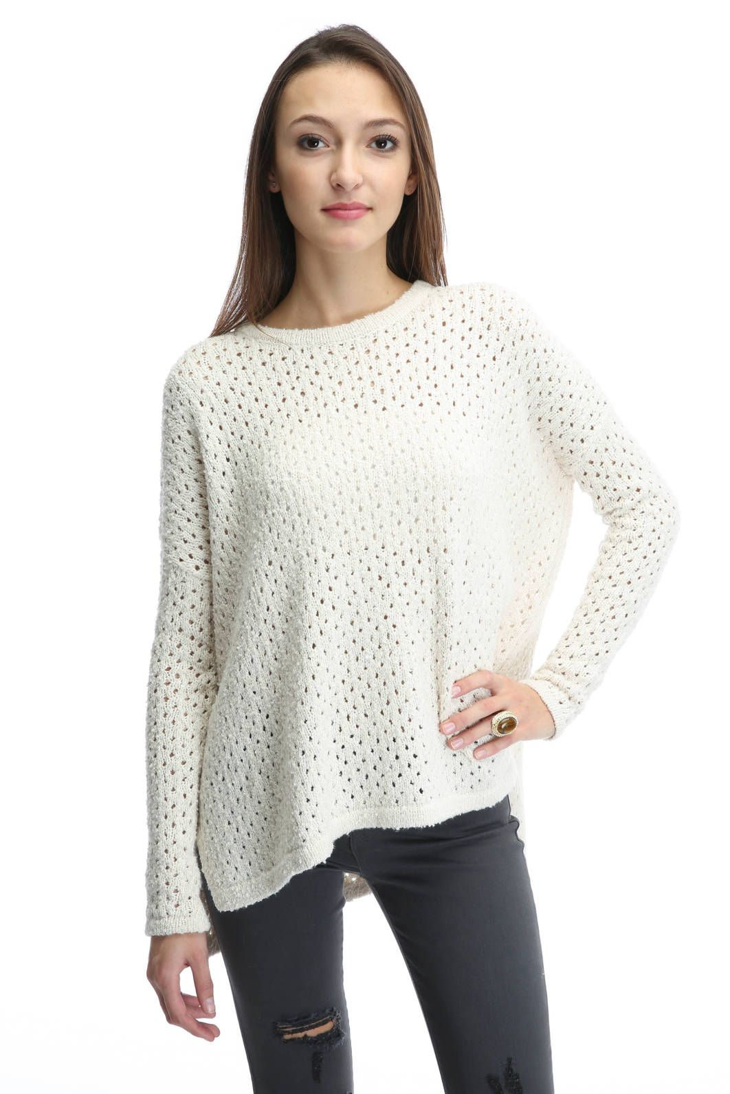 Neely Ema Oversized Perforated Pullover Sweater in IVORY | Jewelry ...