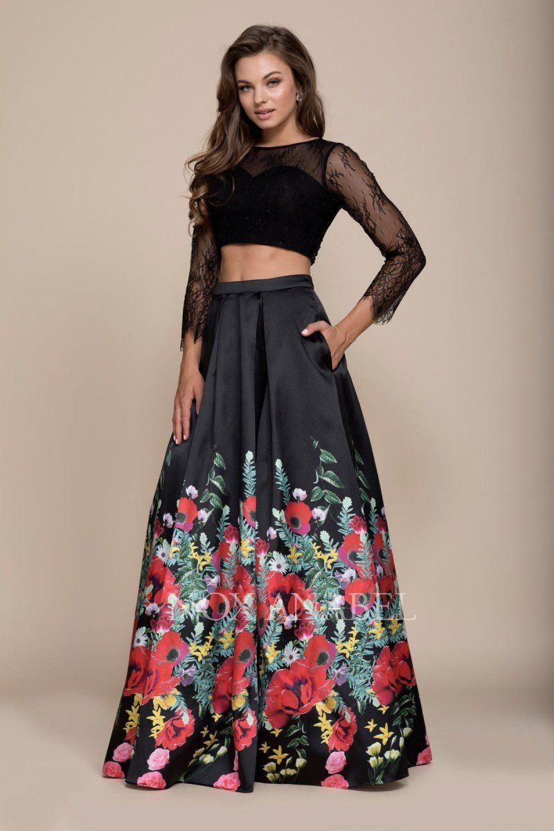 b20f18681dbdf N 8371 - Two-Piece Lace Long Sleeve Halter Floral Print Satin Skirt ...