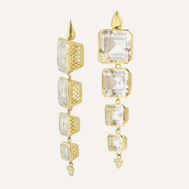 Ray Griffiths 18k yellow gold teardrop on post earrings with square crownwork drops and triple diamonds