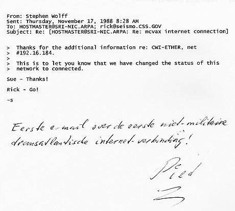 Op 17 november 1988 werd vanuit Nederland de eerste trans-Atlantische email verstuurd.