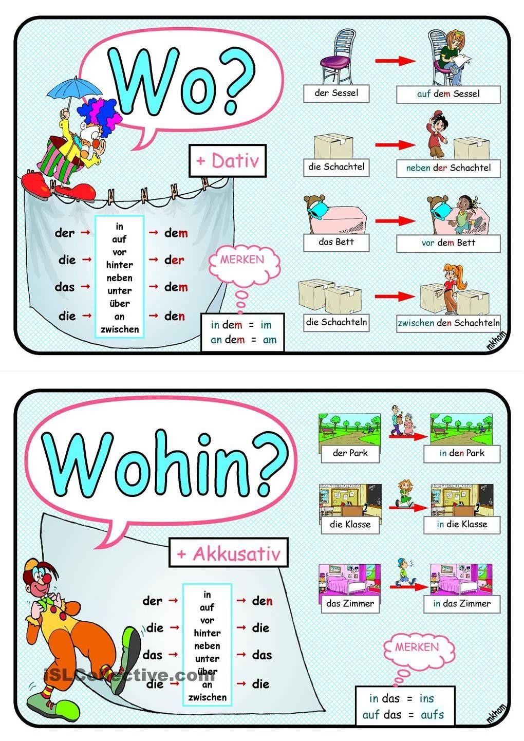 Duits - Deutsch - Fälle - naamvallen - Wechselpräpositionen - keuzevoorzetsels - Dativ - Akkusativ                                                                                                                                                                                 More