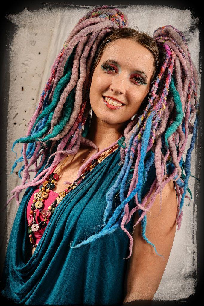 Wool Roving Dreads Hair Falls Handspun Glitter Mutimedia Hair