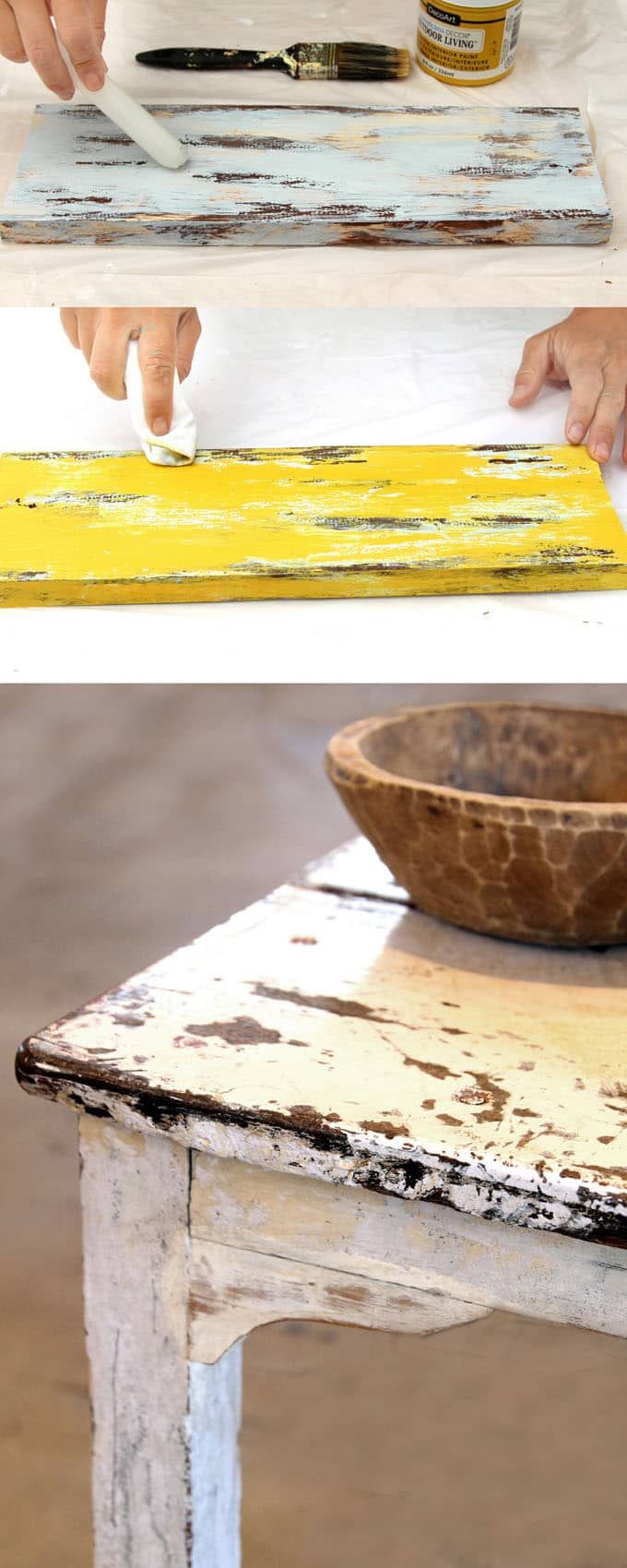 Ultimate guide on how to distress wood and furniture. Video tutorials of 7 easy painting techniques that give great results of aged look using simple tools.