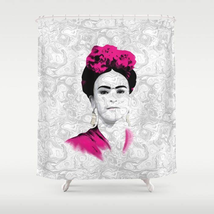 Shower Curtains Art Curtain Bathroom Frida Kahlo 22 Or 23 Grey Pink White LDumas By ArtbyLucie On Etsy