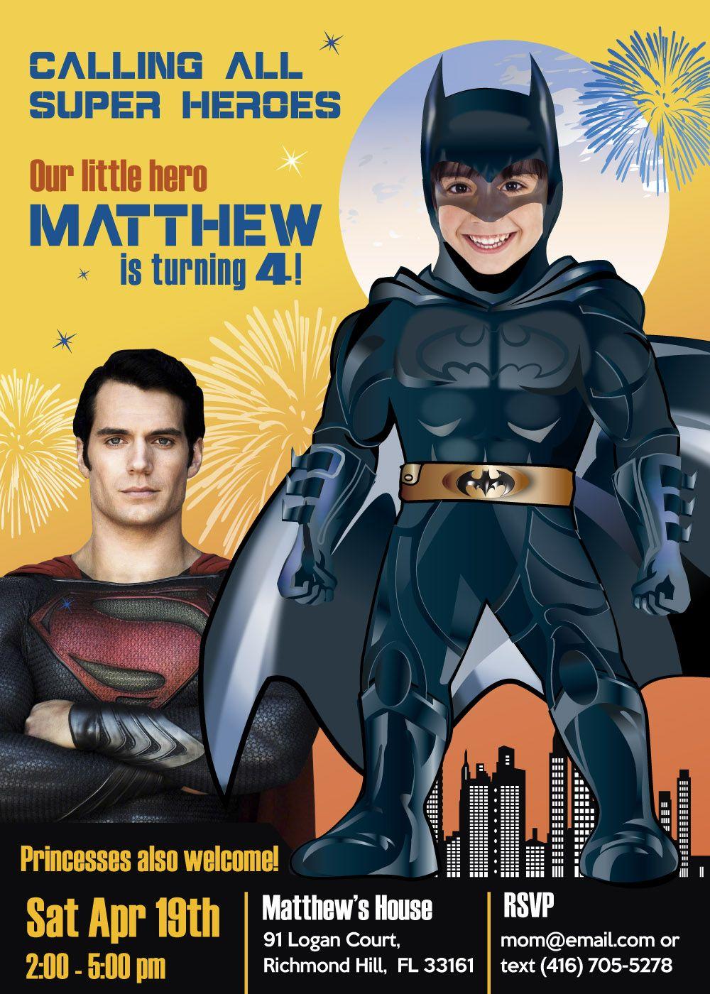 BATMAN vs SUPERMAN birthday party invitation Turn your kid into
