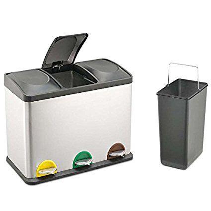Treteimer Abfalleimer Mülleimer Mülltrennung Edelstahl (45 Liter - mülleimer für küche