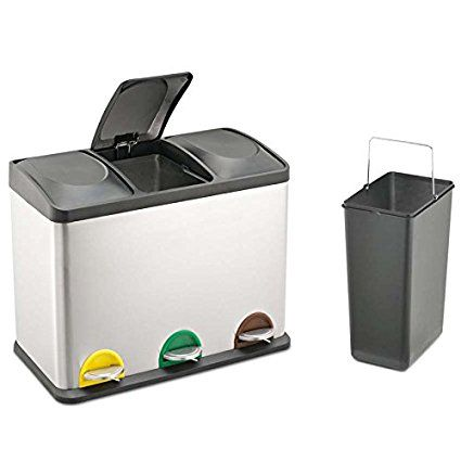 Treteimer Abfalleimer Mülleimer Mülltrennung Edelstahl (45 Liter ...