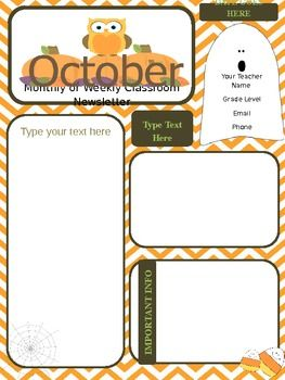 1b6ddafdfd0601106a961ee594c484d4 October Clroom Newsletter Template Generator on