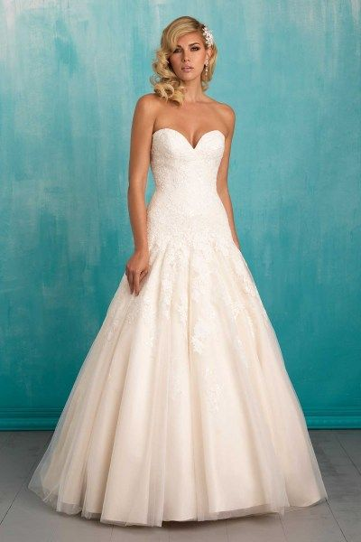 Allure 9314 This Strapless Gown S Lace Bodice Trails Fl Liques To A Full Skirt