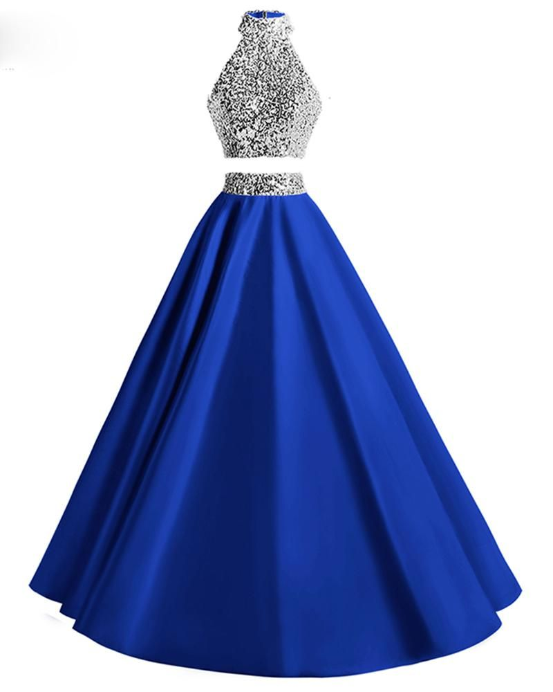 High Neck Two Pieces Halter A Line Prom Dresses Sequins Evening Long Gown Formal Dresses For Weddings Cute Prom Dresses Royal Blue Prom Dresses [ 1000 x 800 Pixel ]