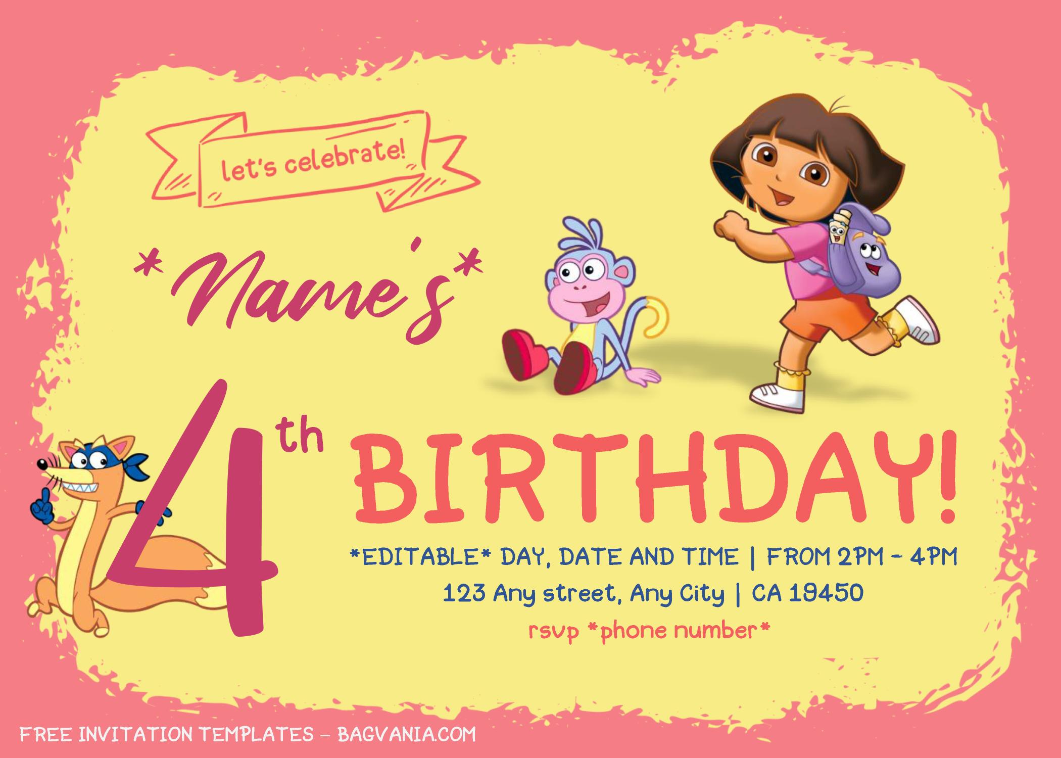Dora The Explorer Birthday Invitation Templates Editab Birthday Invitation Templates Free Printable Invitations Templates Free Printable Birthday Invitations