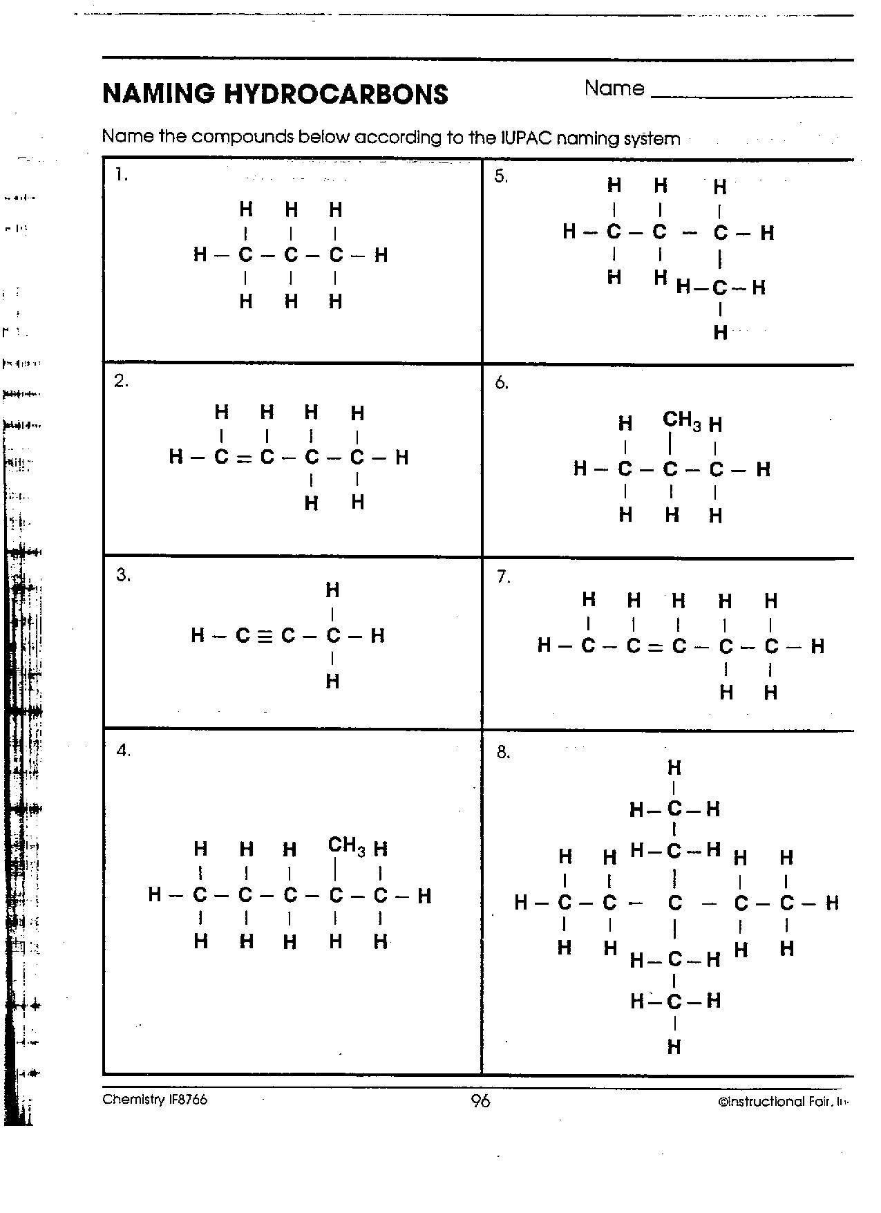 Naming Simple Hydrocarbons Worksheet