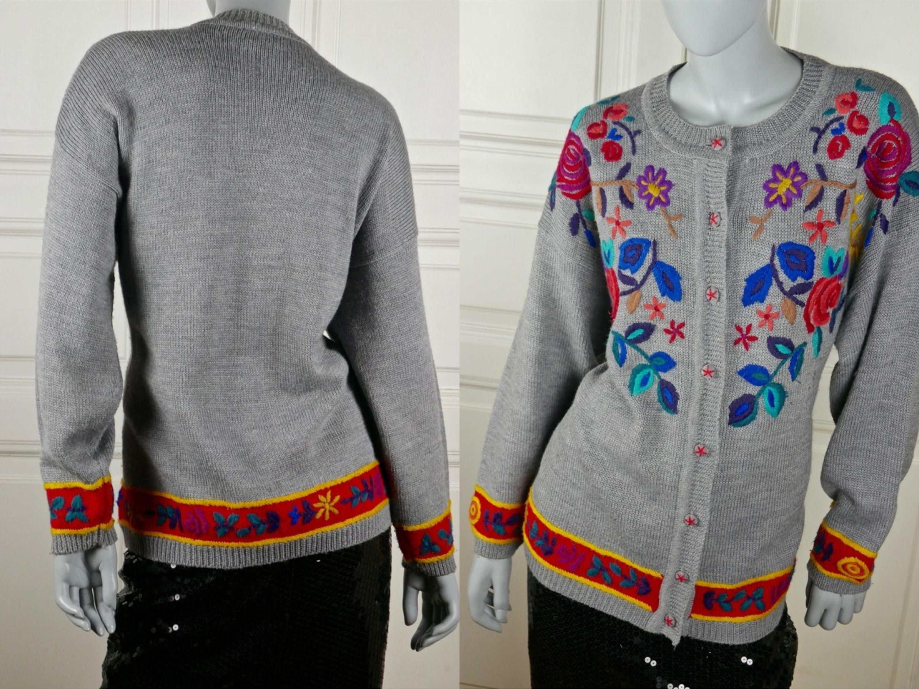 Swedish Vintage Wool Knit Cardigan, Gray Red Yellow 1990s Floral ...