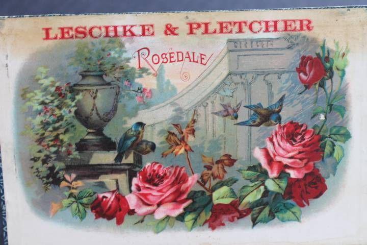 Vintage Wooden Leschke & Pletcher Rosedale 10 Cents Straight Cigar Box Roses CT