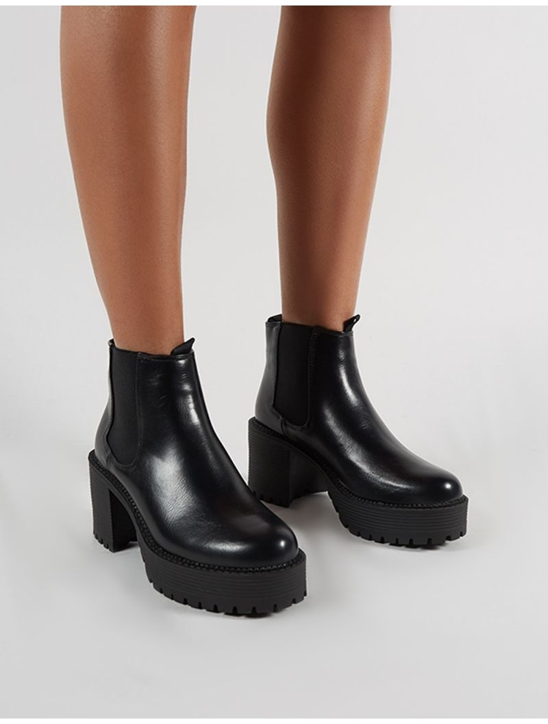 94869b0b6f8 Melia Heeled Chlesea Boots in Black PU in 2019 | shoes | Boots ...