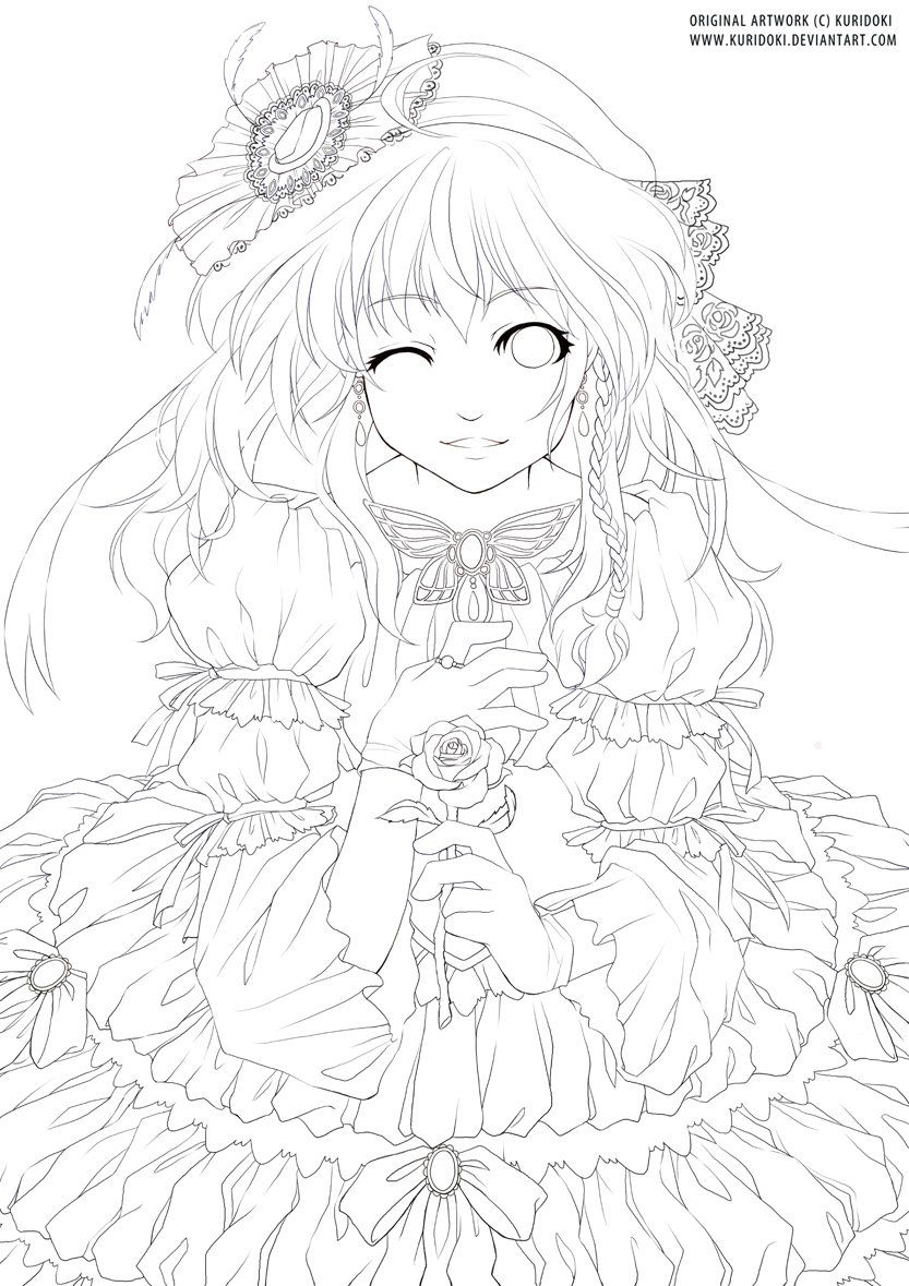 Lady And Rose Lineart Cute Coloring Pages Animal Coloring Pages Cool Coloring Pages [ 1179 x 833 Pixel ]