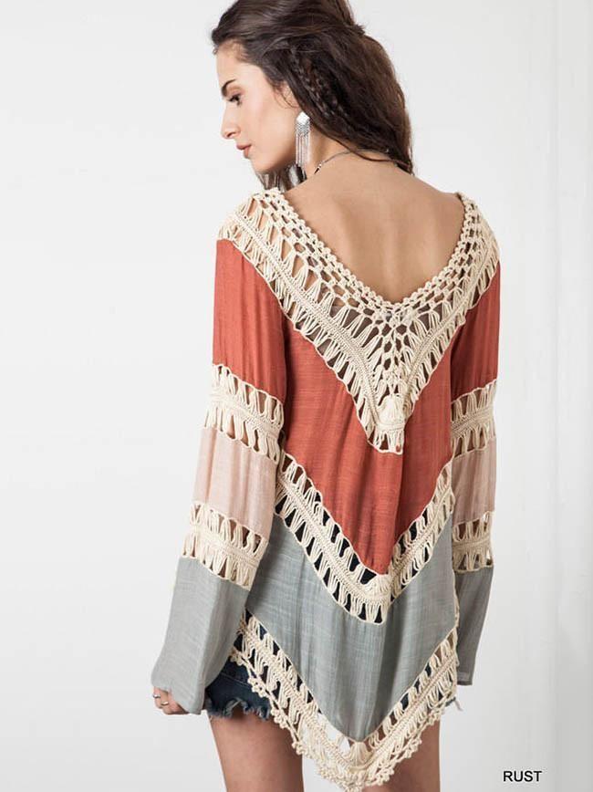 6114320911df1e Special Long Sleeve V Neck Hollow T-Shirt Tops | Bohemian, Gypsy ...