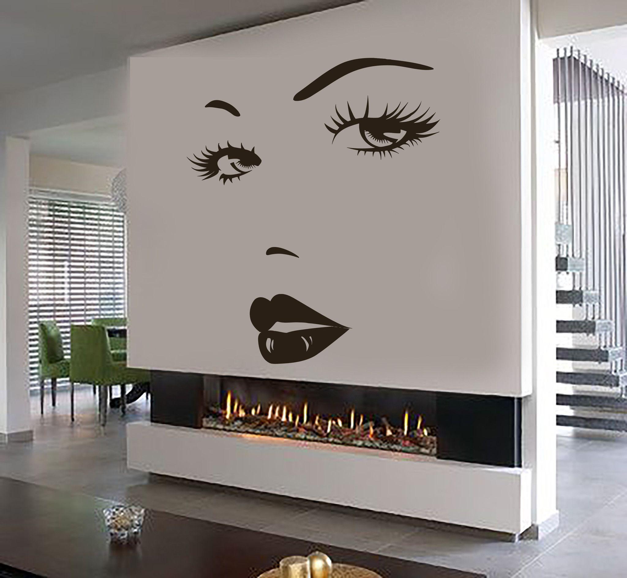 Eyes Wall Sticker Vinyl Decal Beauty Salon Woman Face Lips Girl Room