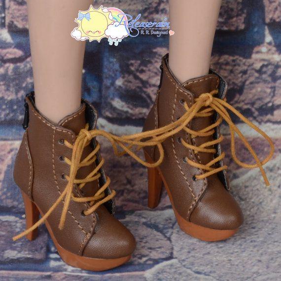 "Doll Shoes High-Heel Platform Lace-Up Ankle Boots Brown for 22"" Tonner American Model, Evangeline Ghastly, High Heel Narae Dolls"