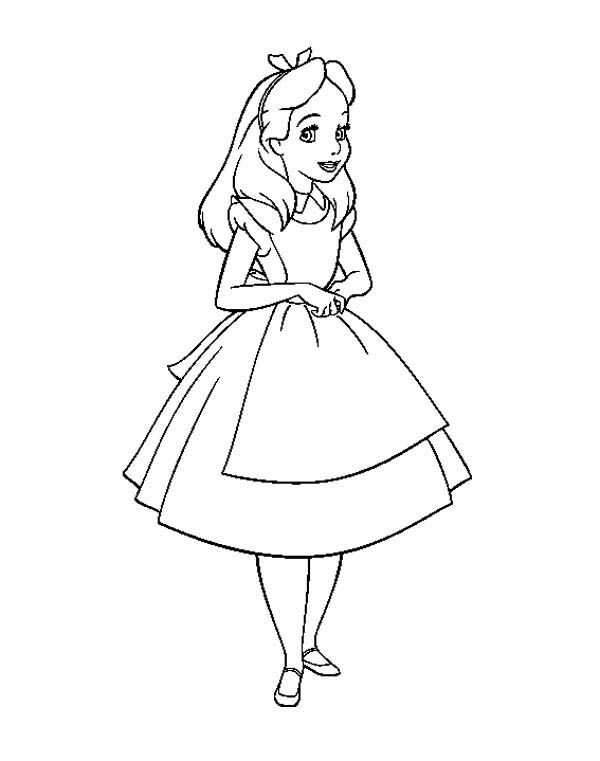 Coloring Pages Disney Alice In Wonderland : Alice in wonderland coloring page kids stuff pinterest