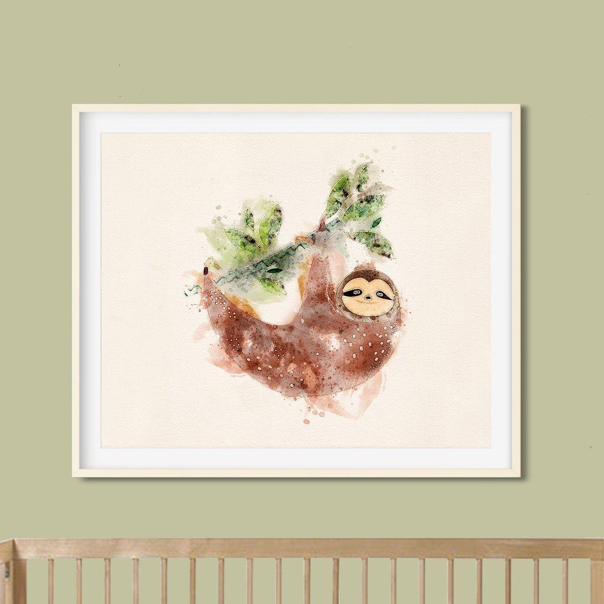Watercolor Nursery Sloth Art Print Gender Neutral Baby Nursery Wall Decor Jungle Baby Animal Wall Art Baby Boy Nursery Sloth Print In 2020 Nursery Canvas Art Nursery Wall Decor
