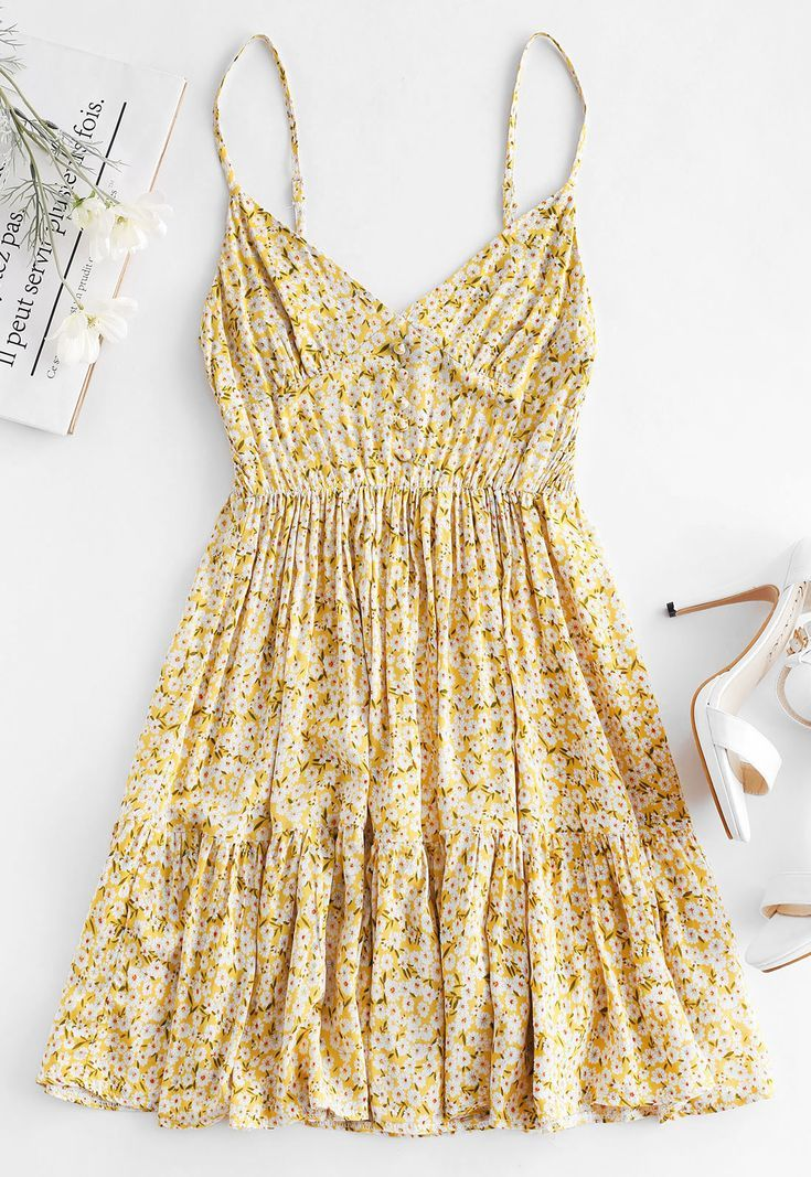 Lemon Yellow Cute Floral Summer Dress Style: Brief Occasion: Beach,Vacation Material: Polyester Si