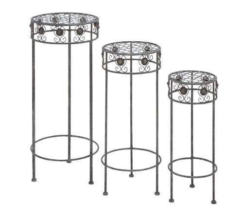 Metal Plant Stand with Silver Metal Polish - Set of 3 - Free Shipping Brand New
