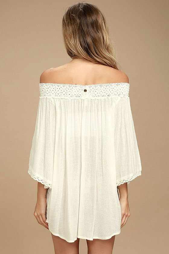 8e1d6067a6fa59 The fun never stops in the Billabong Easy Breeze Ivory Off-the-Shoulder  Cover-Up! Gauzy woven fabric shapes a smocked