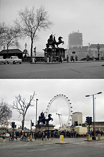 Then & now. Photos from around London, showing how much or little has changed. It's less than you'd think.