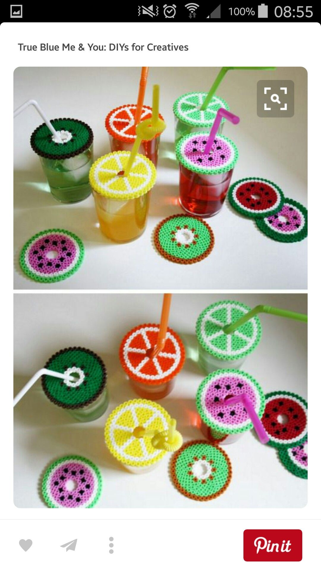 DIY Dual Duty Perler Beads Coasters Or Drink Covers Tutorial From LoppiThese Can Be Made Out Of Hama