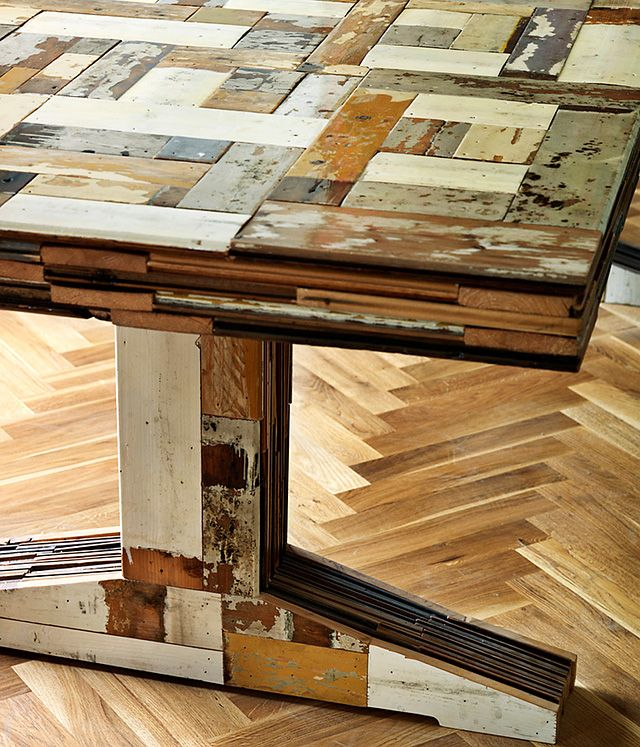Table Made From Recycled Floor Boards Wood Reclaimed Wood Table