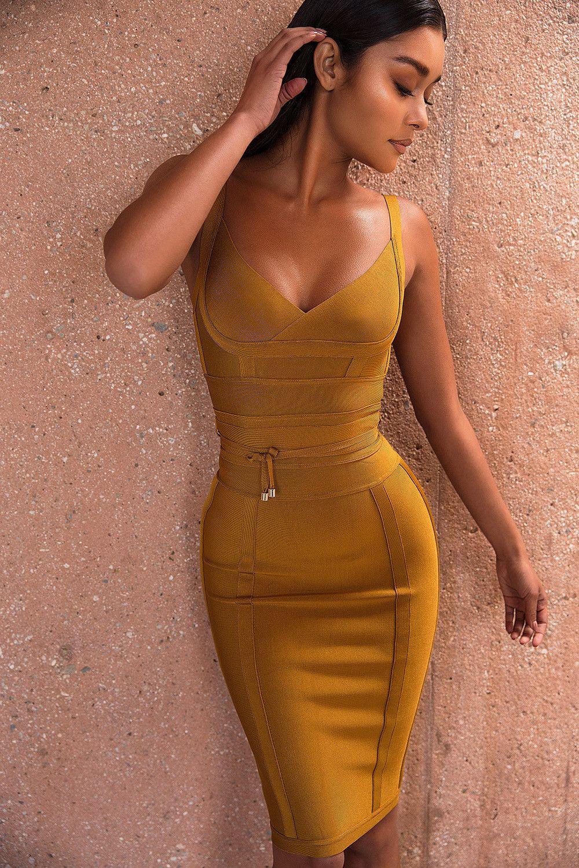 ca2e37a9398 Clothing   Bandage Dresses    Belice  Ginger Tie Waist Bandage Dress ...