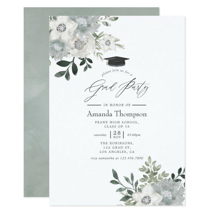 Photo of Watercolor Silver Sage Floral Graduation Party Invitation   Zazzle.com