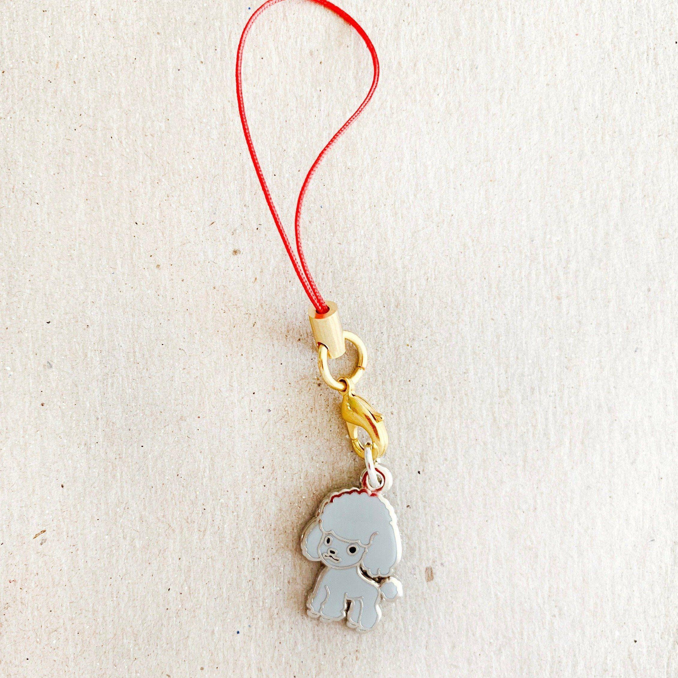 Enamel Charm - Standard Poodle Keychain (Gray)
