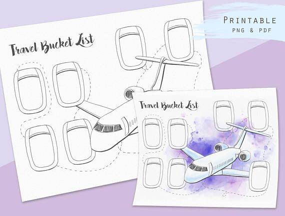 Travel bucket list Printable Travel journal insert Trip planner ...