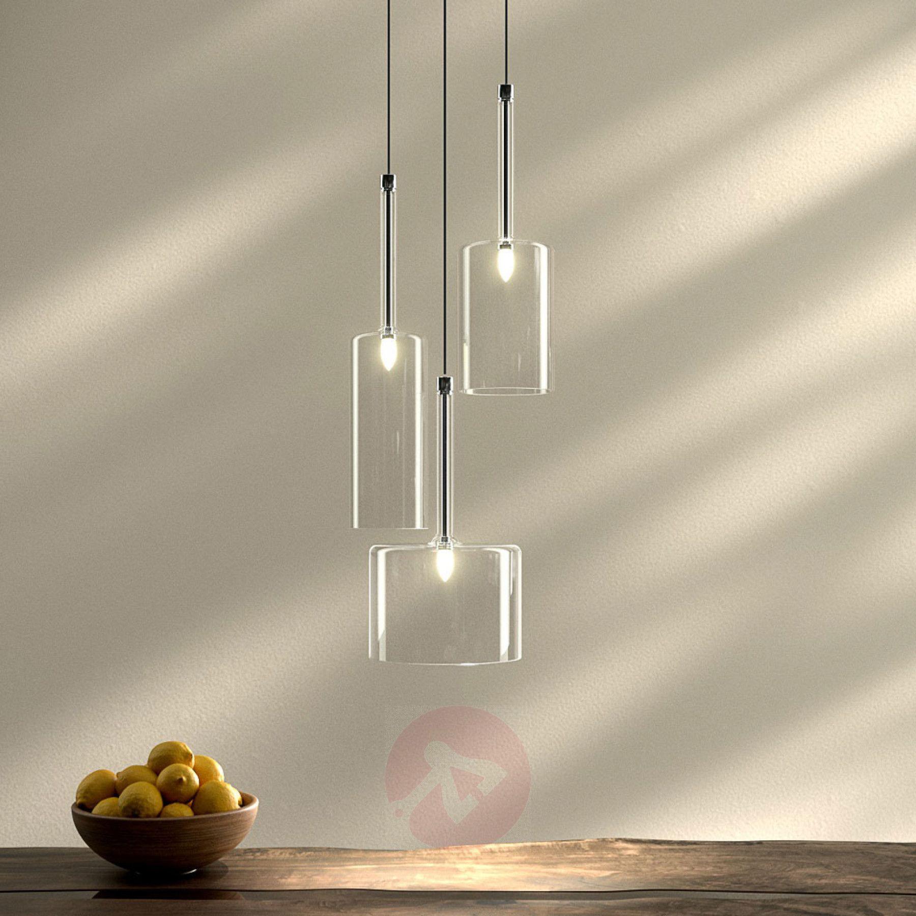 spillray threebulb glass pendant light  suspension 3